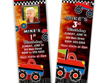 Monster Truck Invitation Ticket - Boy Birthday Party Invite Red Printable Personalized With Photo