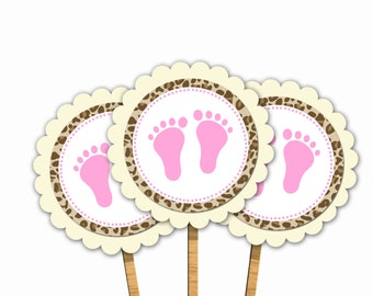 INSTANT DOWNLOAD Leopard Baby Feet Baby Shower Cupcake Toppers Decorations - Baby Shower Favors Baby Shower Decorations Baby Shower Items