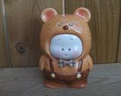 Vintage Kawaii Boy or Girl in Bear Costume Bank. Made in Japan. Japanese Pop Culture.