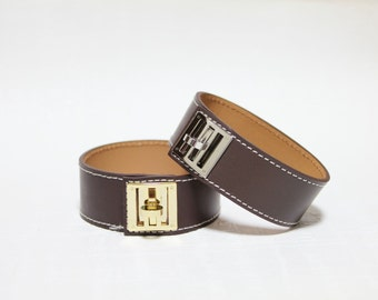 New Equestrian Buckle Ornament Leather Bracelet(DARK BROWN)