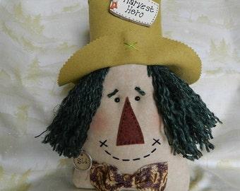 "Scarecrow Doll-Pillow ~ Sid ~  12"" tall, Green Hair, Tan Hat"