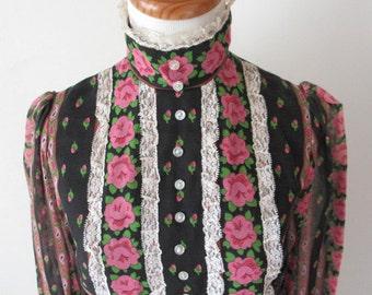 1960s Mod Pink and Black Floral Print Mini Dress