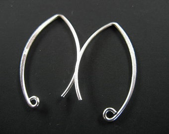 5 pairs of 925 Sterling Silver Ear Wires 16x26 mm.,#20 AWG wire  :th1598