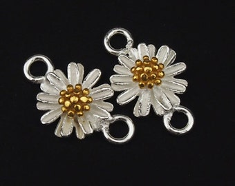 2 of 925 Sterling Silver Daisy Connectors, Links, Gold plated pollen 8.5mm. :th1733