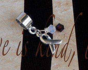 Sterling Silver DVT, Oral Cancer, Carcinoma Awareness Charm Bead, European Style