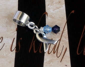 Sterling Silver Mixed Connective Tissue Disease, MCTD Awareness Charm Bead, European Style