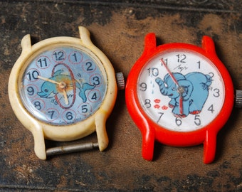 Set of 2 Vintage watch movement, watch parts, watch faces. children watch, elephant, dolphin