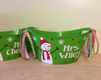 Personalized oval tub - Christmas, winter holiday Gift basket, Snowman and flakes, name, great teacher bucket, Hostess gift