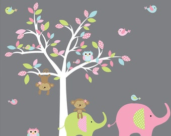 Children Wall Decals Vinyl wall decal Tree with Monkeys,Elephants-Girls Nursery Decals