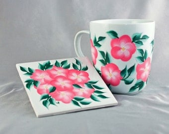Hand Painted Coffee Cup with Coaster. Pink Floral