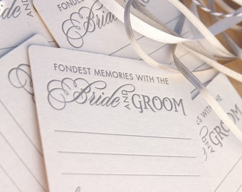 Fondest memories with the bride and groom, wedding Letterpress Coasters, guest book alternative, fun wedding - set of 6 in silver