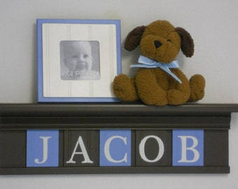 Baby Boy Nursery Wall Shelves -  Chocolate Brown Shelf with Pastel Light Blue and Brown Wall Letter - Personalized for Nursery