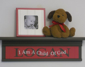 """Personalized Red Baby Nursery Decor 24"""" Shelf Chocolate Brown Custom for LOGAN with Saying - I Am A Child Of God - Baptism Confirmation Gift"""