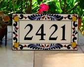 Custom Outdoor House Number Tile Address Plaque hand painted with Royal Blue or Slate Blue