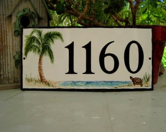 House Numbers PALM Tree TURTLE or DOLPHIN Custom porcelain tile Address Plaque
