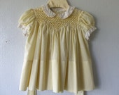 Polly Flinders Vintage Baby Dress - Designer - Buttercup Yellow - Size 12 months - Hand-Smocked - Collectible