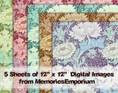 Art Nouveau Digital Paper Pack Flowers Collage Sheet Download Abstract Designs Background Pattern 12 x 12 12x12 inch Old Scrapbooking 530