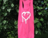 Hot Pink White Screen Printed Heart Adult Large Tank Top T Shirt