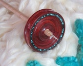Beautiful Bloodwood Drop Spindle, Black InLace & Turquoise Nuggets