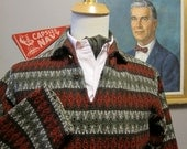 1950s Diamond Weave Intarsia Wool Pullover Shirt Jacket by Cresco size Medium