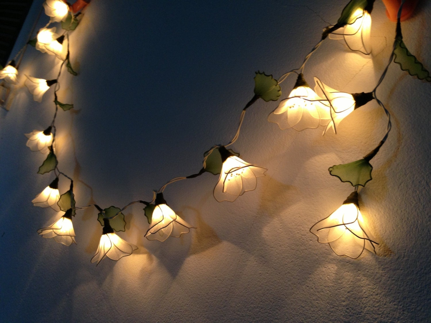 Custom Party String Lights : 20 Bulbs White Himalayas flower with leaf string lights for