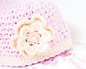 Crochet baby hat, cotton baby hat, nweborn hat, pink baby hat, summer hat, newborn gift, CUSTOM