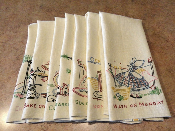 Vintage Seven Days Of The Week Dish Towels By
