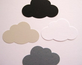 50 Large Clouds punch die cut confetti scrapbook embellishments E1529