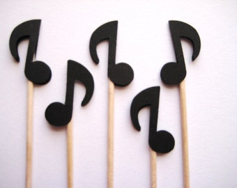 24 Black Musical Note Party Picks - Cupcake Toppers - Toothpicks - Food Picks - die cut punch FP337