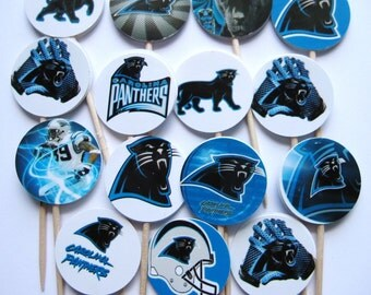 15 Carolina Panthers Football Party Picks - Cupcake Toppers - Toothpicks - Food Picks - die cut punch FP406