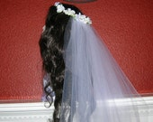 Bridal Floral Hair Wreath With Attached Waltz Length Veil, 100% HANDMADE, THE KATHERINE