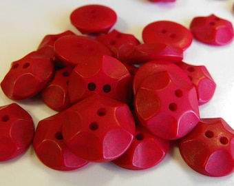 25 Red Rock Star Round Buttons Size 11/16""