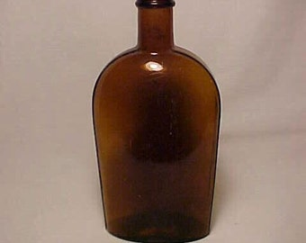 c1880s One Pint Amber Strap Side Blown Glass Whiskey Flask No. 6