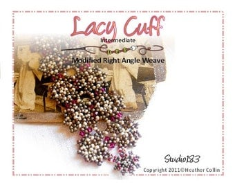 Beading Pattern, Instructions, Tutorial, Right Angle Weave Beaded Lacy Wide Cuff Instant Download LACY CUFF