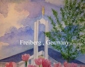 Watercolor print , Freiberg, Germany -11x14