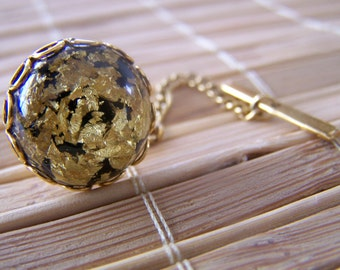 """Vintage 60's """"TIE TACK with Bar Hook - Black and Gold Confetti Lucite Flakes in Lucite"""