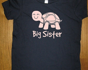 Big Sister Shirt - 8 Colors Available - Kids Turtle Big Sister T shirt Sizes 2T, 4T, 6, 8, 10, 12 - Gift Friendly