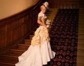Steampunk Wedding Dress, Steampunk Wedding, Steampunk Bride, Victorian Wedding, Fairytale Wedding Dress, bustle skirt, corset, mini top hat