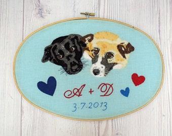 Pet portrait Embroidery hoop art Personalized Custom Your beloved pet wedding gift