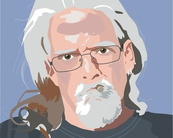 Old Man Smoking Illustration Digital