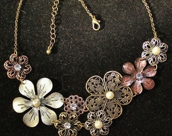 Vintage Rhinestone & Faux Pearl Filigree Flower Necklace