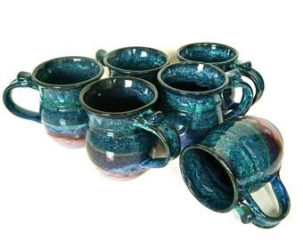 Coffee Mug, Handmade Wheel Thrown, MADE TO ORDER, Lavender Blue Black by RiverStone Pottery