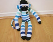 Ocean striped sock monkey plush doll -- blue, green, and white