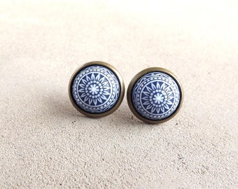Navy Blue Earrings Stud Earrings Vinatge Etched Earrings Small Earrings Ear Posts Gift For Her