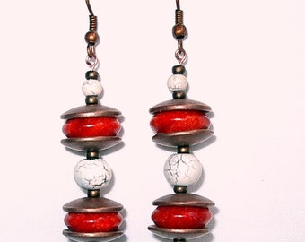 Coral & Copper Tribal Earrings, Hand Made in the USA