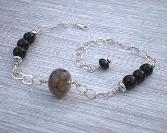 Jazz it up ankle bracelet, black fire agate, black onyx, sterling silver, black anklet, unique jewelry by Grey Girl Designs on Etsy