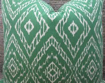 Designer Pillow Cover - Lumbar, 16 x 16, 18 x 18 Strie Ikat Jacquard Malachite Green -