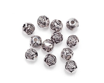 CLEARANCE Antique Silver Rose Beads, 12 pcs