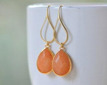 Orange Teardrop Dangle Earrings.  Orange Drop Earrings. Large Gold Dangle Earrings.  Holiday Jewelry.  Gift for Her.  Jewelry Present.