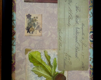 Botanical Collage with Figs and Old Check